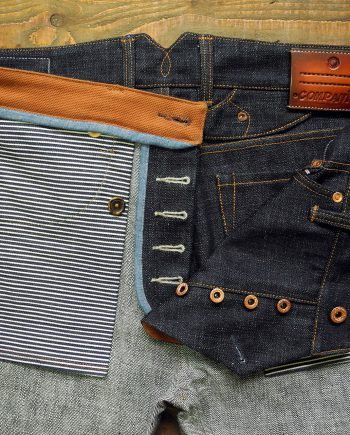 Companion Denim Jan 03A style Super slubby deep blue selvedge denim raw copper laurel leaf buttons