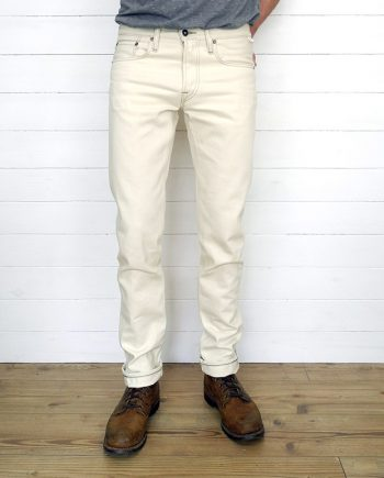 Companion Denim Joel 014I style ecru selvedge denim reinforced pocket openings
