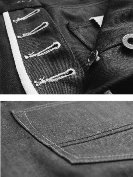 Companion Denim raw selvedge denim branded hardware chainstitched buttonholes
