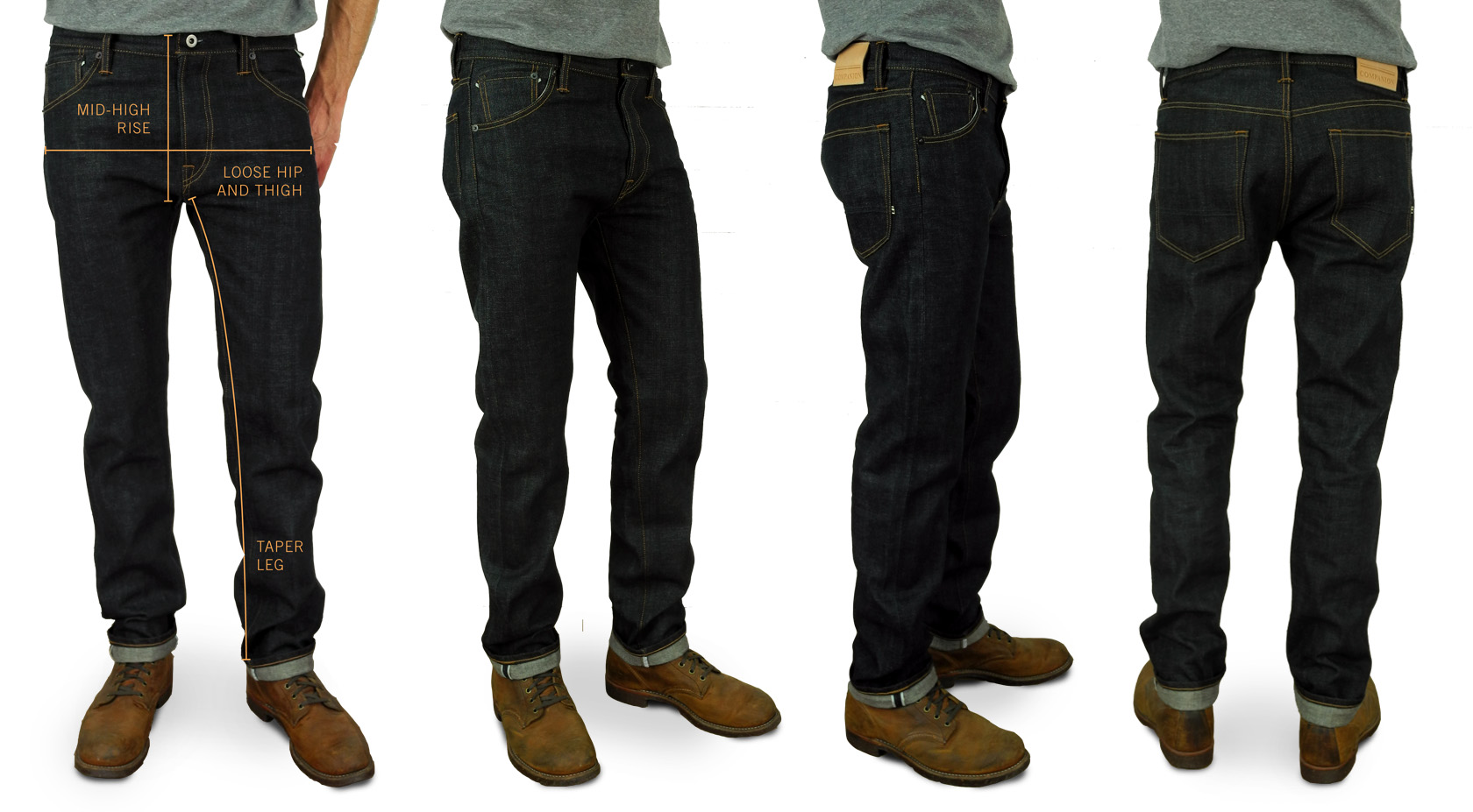 Companion Denim Taper Jan fit raw selvedge denim fits
