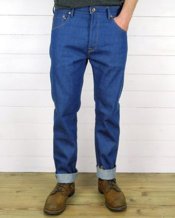 Companion Denim Jan 02CO style 12 Oz. 70´s blue, pink selvedge denim raw copper buttons and rivets