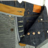 Companion Denim Jan 06KN raw selvedge denim chainstitch buttonholes, copper buttons and rivets, hickory stripes pocket bags