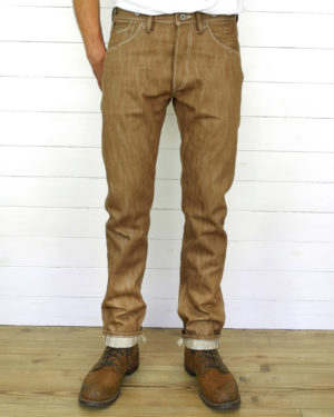 Companion Denim Jan04KN-B Slubby Brown selvedge denim, 100%co.