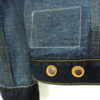 Companion Type III jacket natural indigo overdyed raw selvedge denim, donut buttons with leather rings on the back., selvedge cuffs.