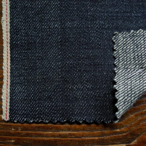 15oz Japanese slubby green cast dirty weft